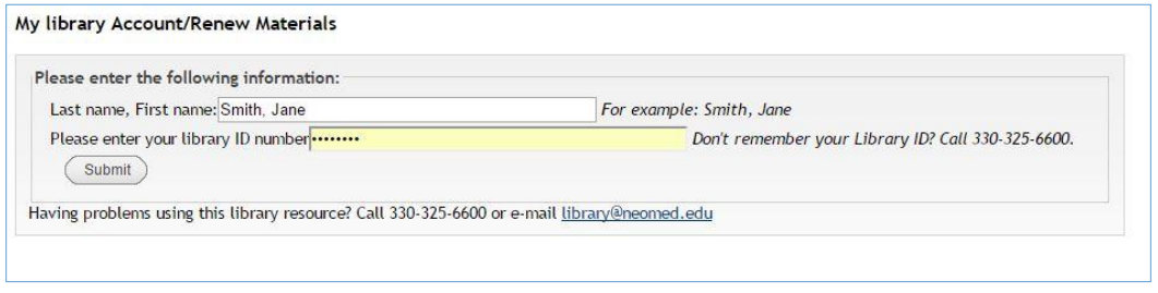 Screen-capture displaying last name, first name and the ID number fields that the system prompts when logging in for my library account