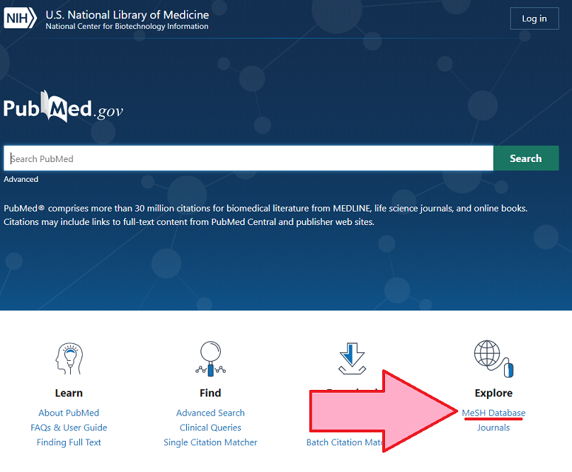 Screenshot showing how to reach MeSH database from new the PubMed landing page