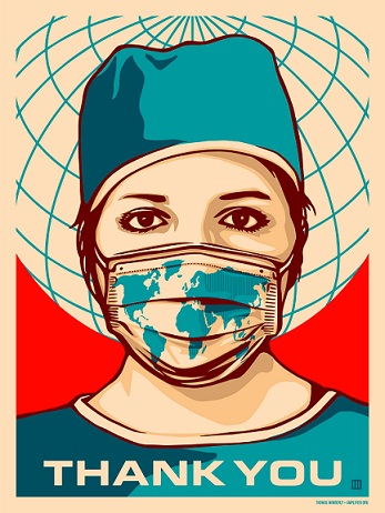 "Poster by Thomas Wimberly at Amplifier.org titled ""Global Forefront English."" Depicts a healhcare worker wearing a mask with a print of the world on it, with a subtitle of ""thank you"""
