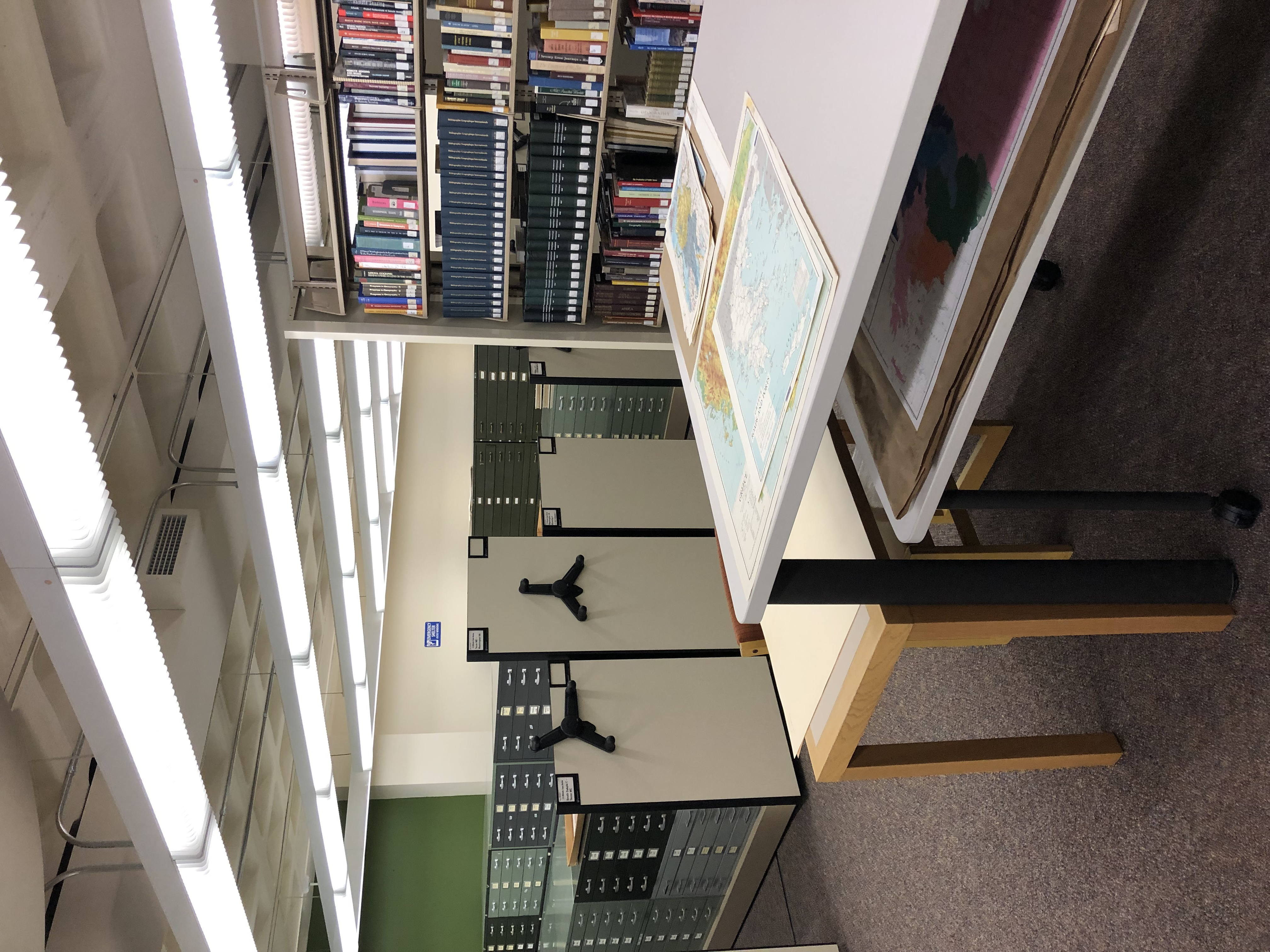 Map collection shelves and tables