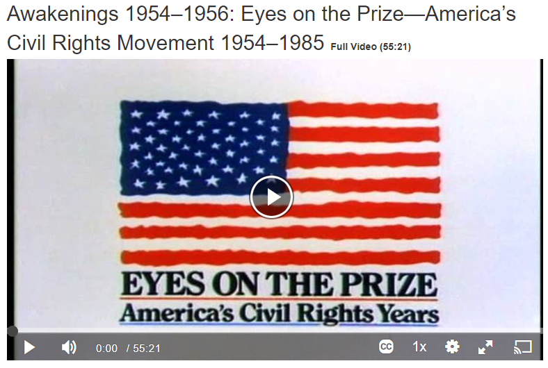 Awakings 1954 - 1956 Eyes on the Prize - America's Civil Right Movement 1954 -1956