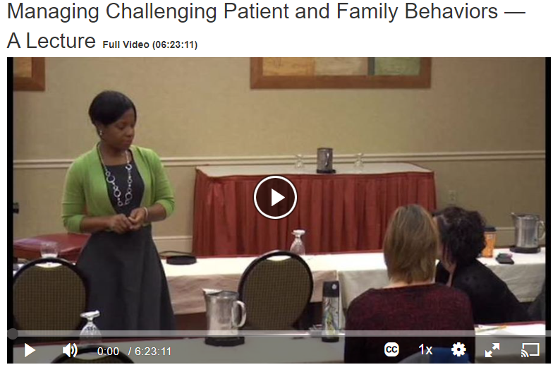 Managing Challenging Patient and Family Behaviors Screenshot