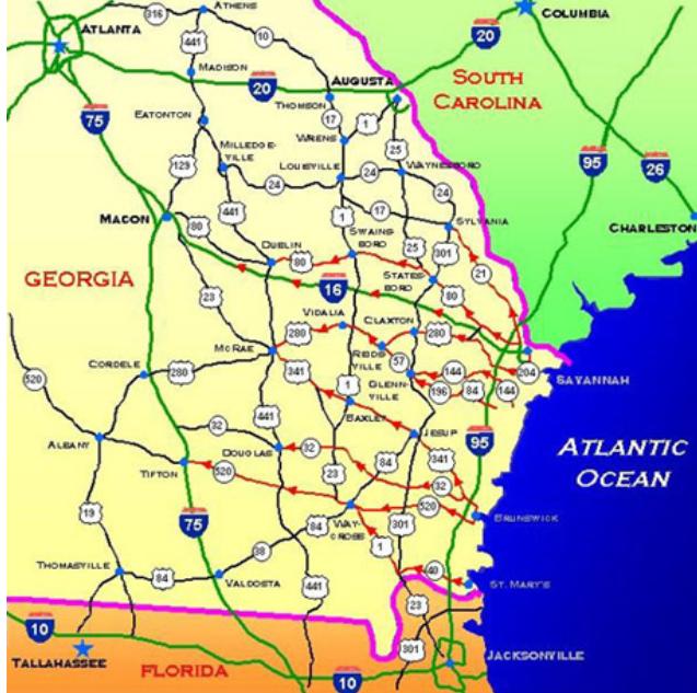 Georgia Evacuation Map