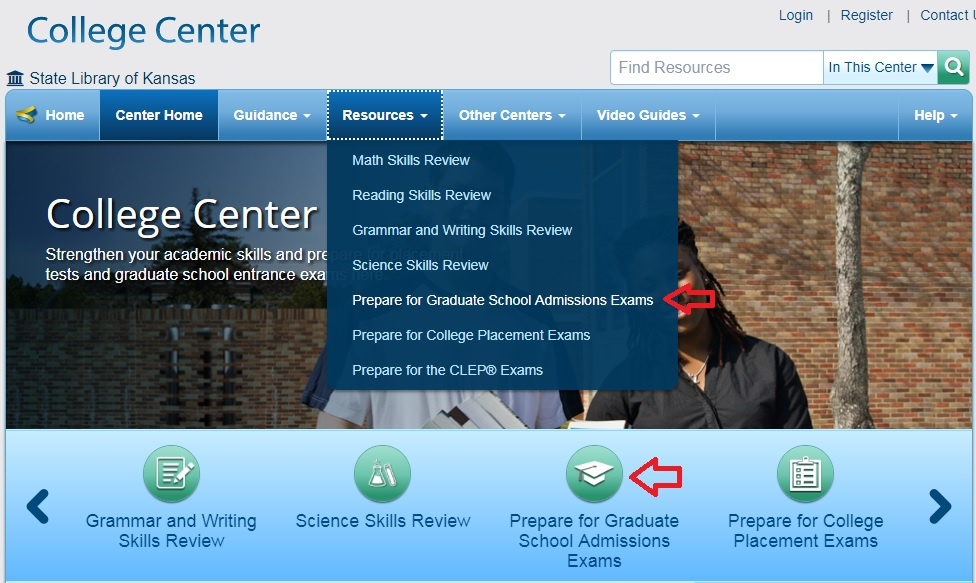 College Center Screenshot with Arrows Pointing to Navigation Points for Graduate Admissions Exam Resources