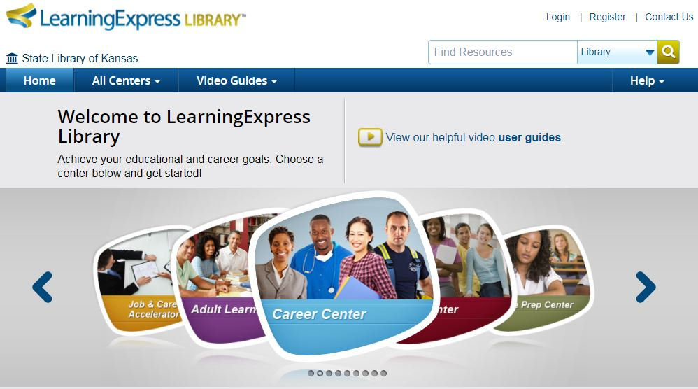 Learning Express Library database main page screenshot with Career Center link centered for navigation