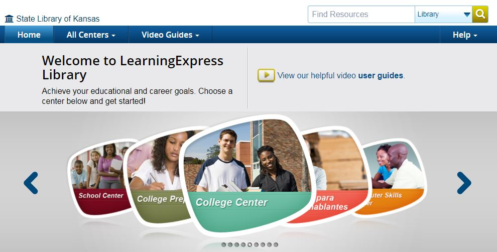 Learning Express Library Main Page, College Center as central image