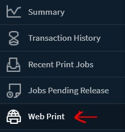 """a picture of the left side menu when logged in to papercut showing to select 'Web Print"""""""
