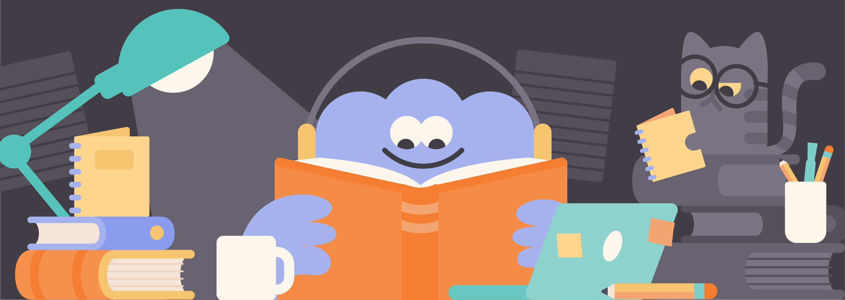 Image from Headspace. Displays a creature thoughtfully studying.