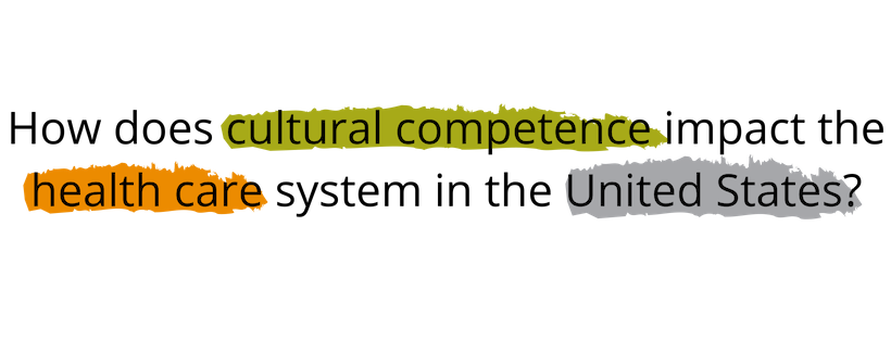 "Image that lists the question ""How does cultural competence impact the health care system in the United States? With cultural competence, health care, and United States highlighted to show how to pull them out in a search."
