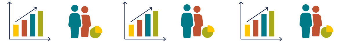 Icons of graphs and people with percentages to display data and stats