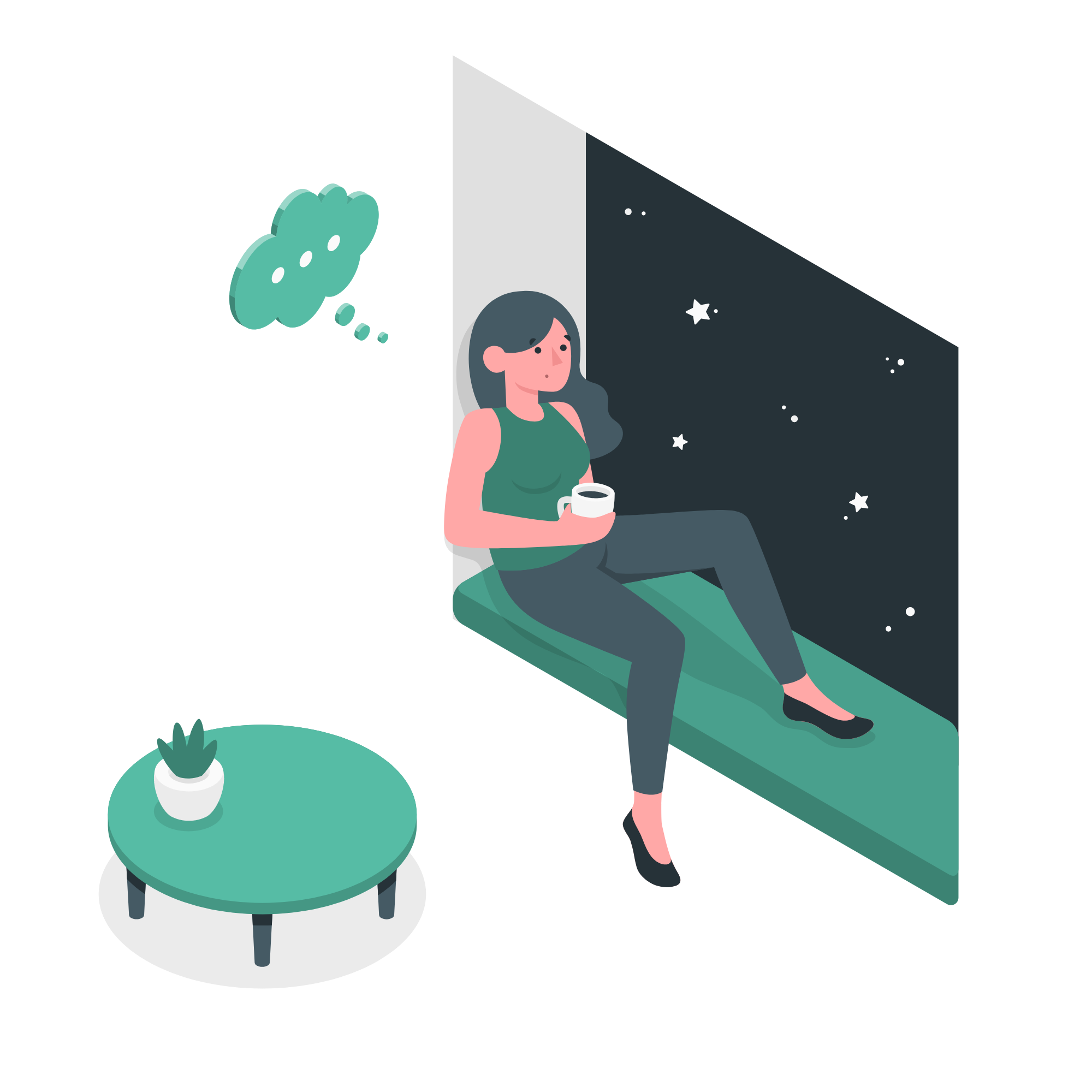 illustration of a person sitting and looking as if they are thinking