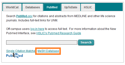"Image of ""MeSH database"" highlighted on the Library homepage"
