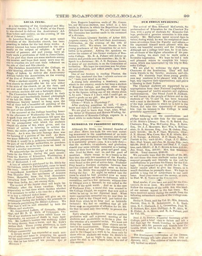 Roanoke Collegian article