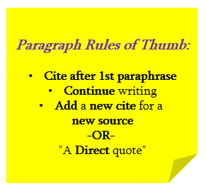 Paragraph Rules of Thumb: Cite after 1st paraphrase, continue writing, add a new cite for a new source or a direct quote.