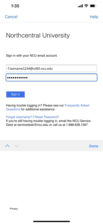 NCUOne login screen on Brightspace Pulse Mobile App