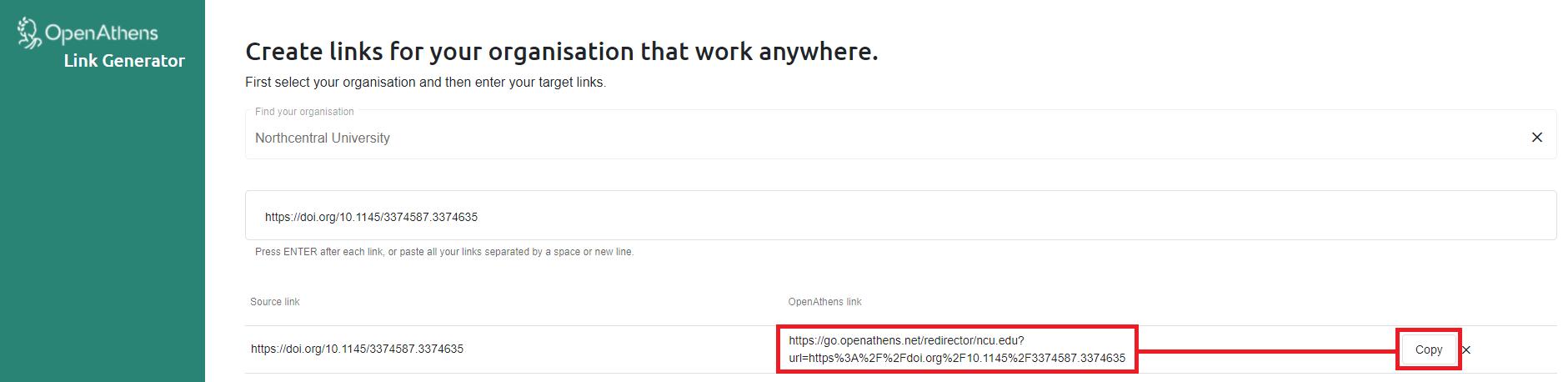 OpenAthens Redirector Link Generator