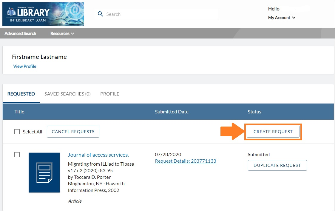 Account dashboard in interlibrary loan displaying create request button