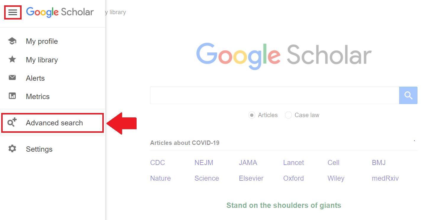 Access Google Scholar Advanced Search