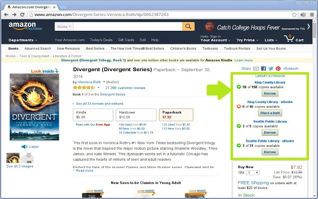 Amazon.com Library Extension tool displaying on resource page