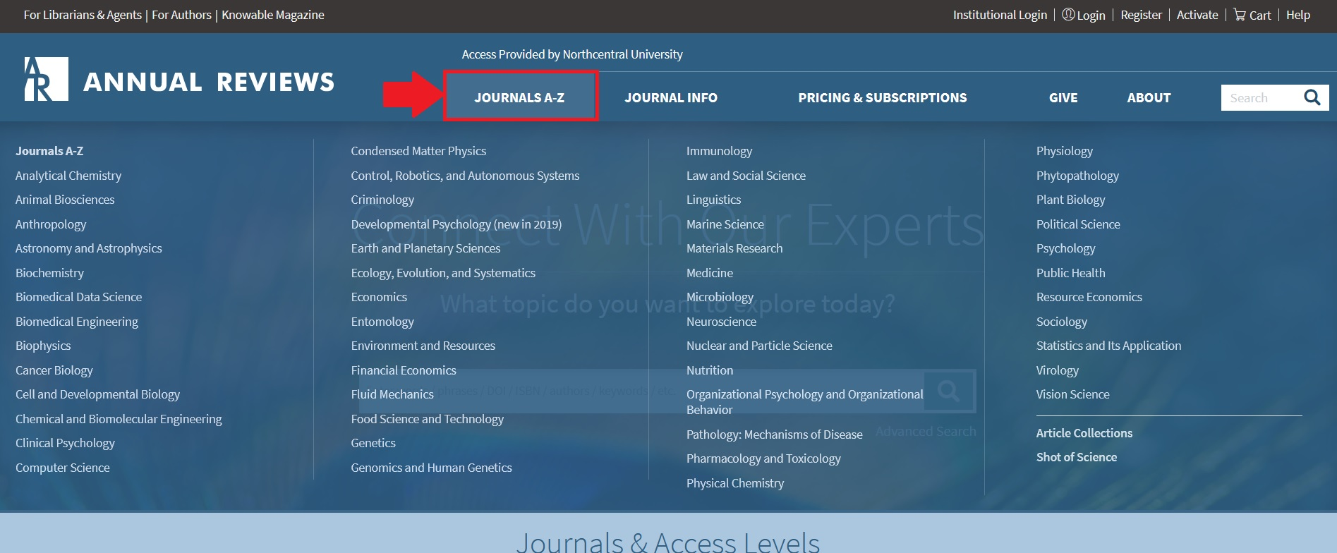 Annual Reviews Journals A-Z