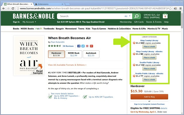 Barnes & Noble Library Extension tool displaying on resource page