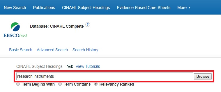 CINAHL Subject Search on Research Instruments