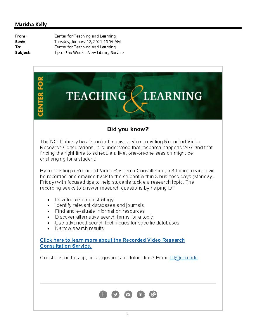 Center for Teaching and Learning Tip of the Week Email Blast