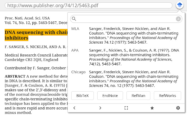 Using the cite feature in Google Scholar Button