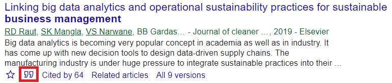 Cite feature in Google Scholar