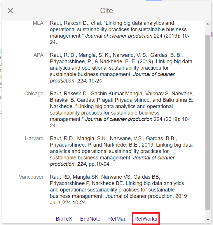 Cite window in Google Scholar displaying different citation output styles