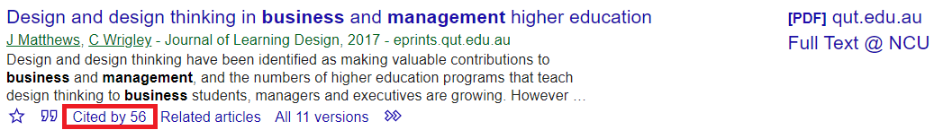 Cited by link under search result in Google Scholar