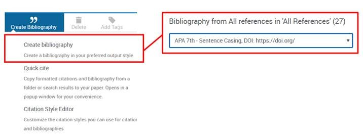 Create bibliography in RefWorks