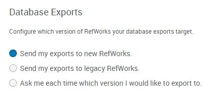 Database exports screen
