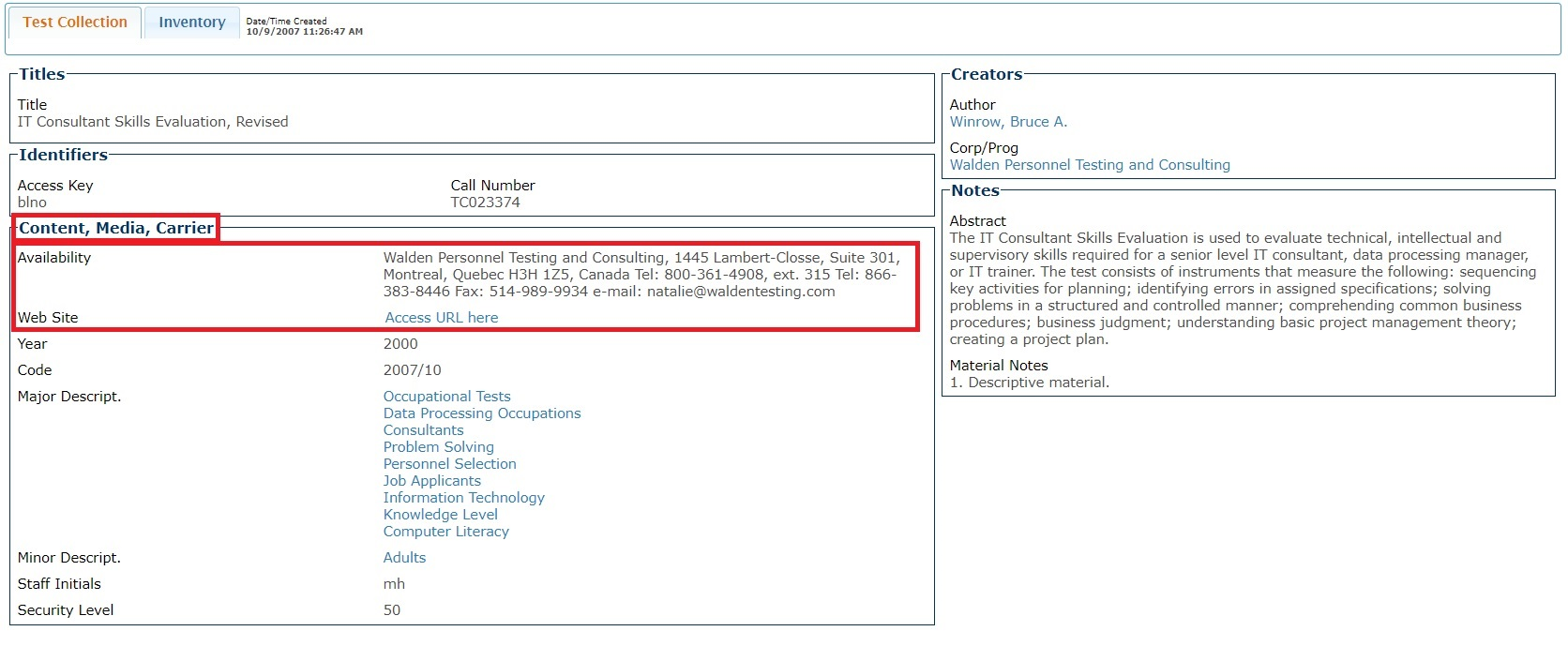 ETS TestLink search result record showing Availabilityand Access fields under Content, Media, Carrier Section