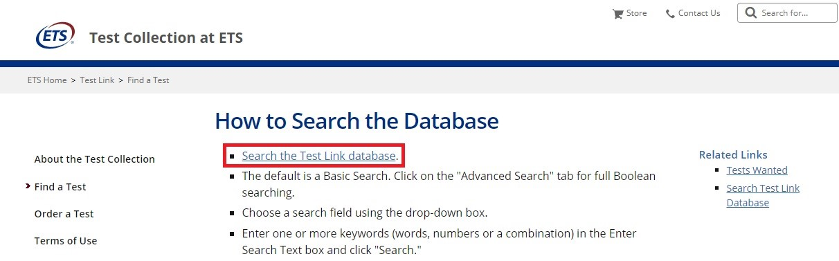 ETS landing page with Search the Test Link database link highlighted