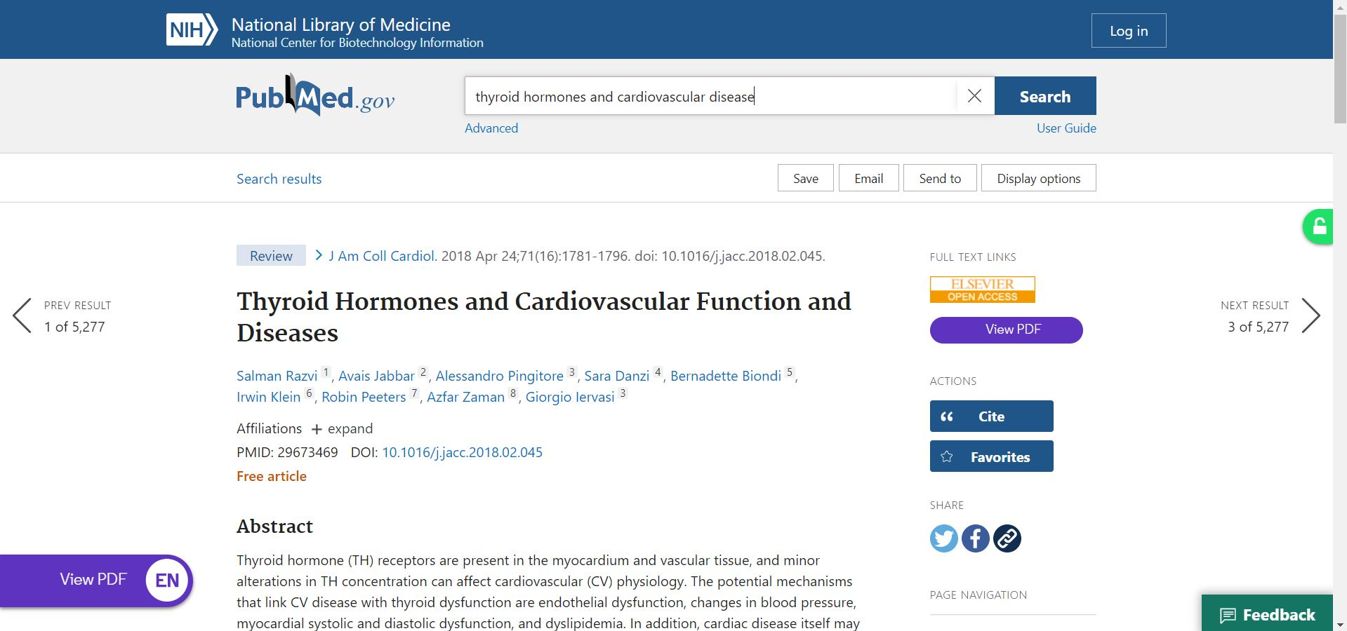 EndNote Click displaying access to full text article on PubMed