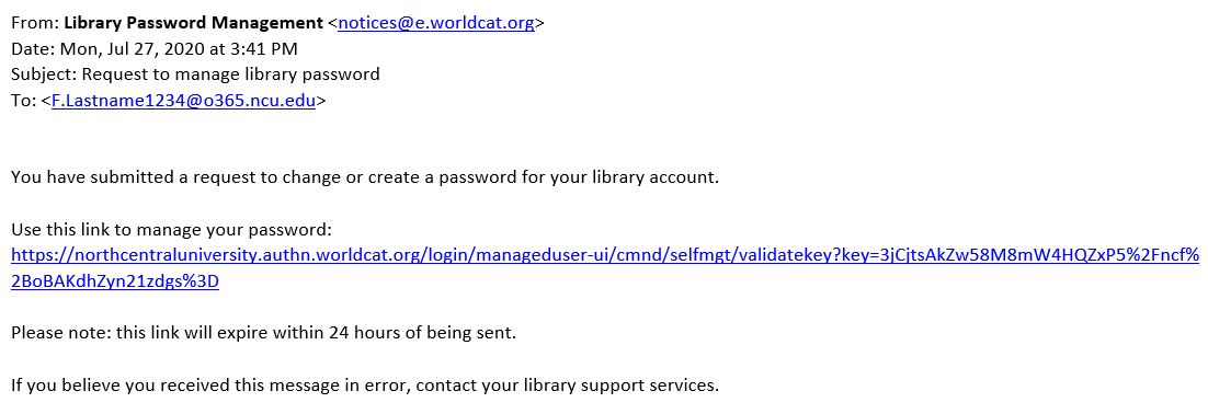 Sample email for setting up a new password