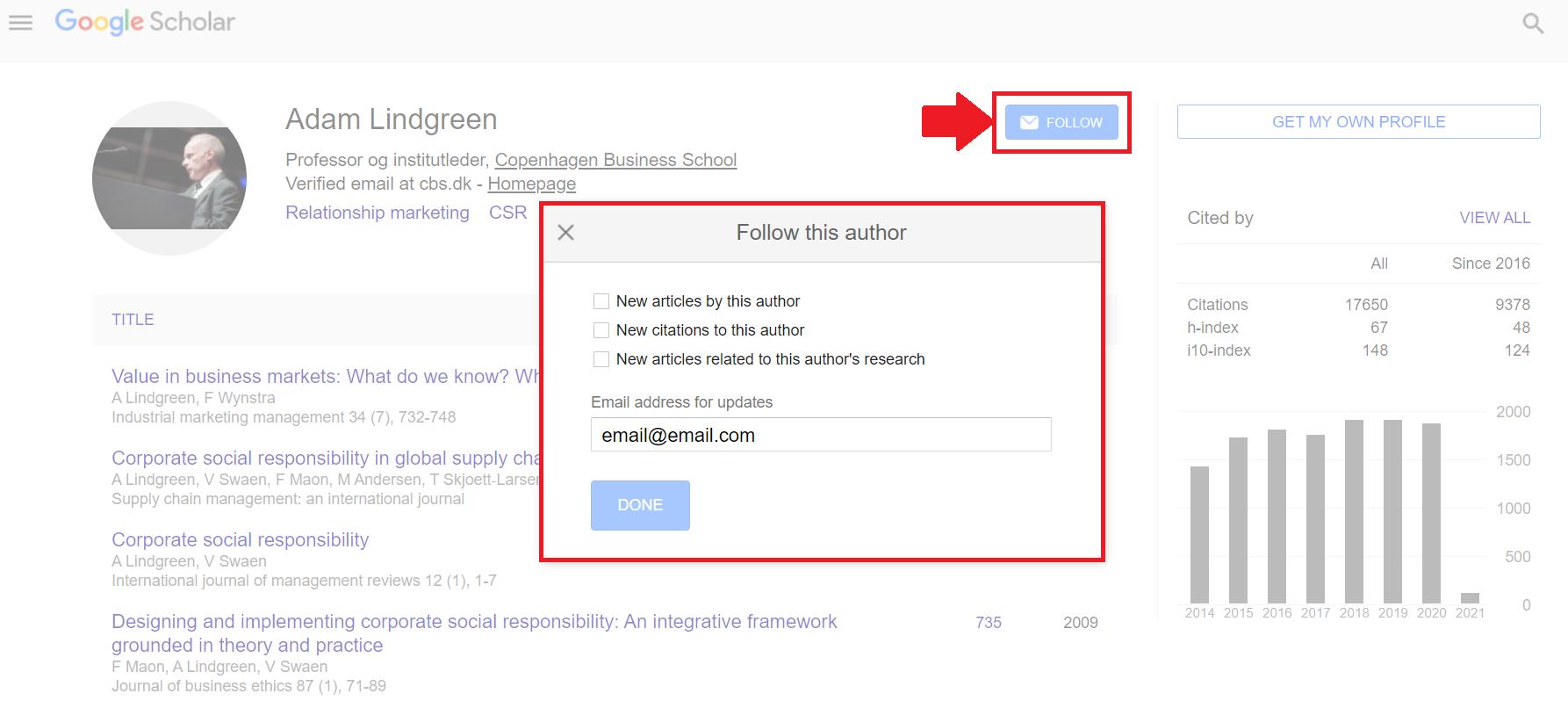 Follow an author in Google Scholar