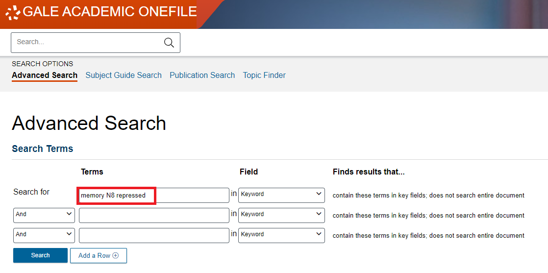 Screenshot of Gale Academic OneFile Advanced Search with an example proximity search.
