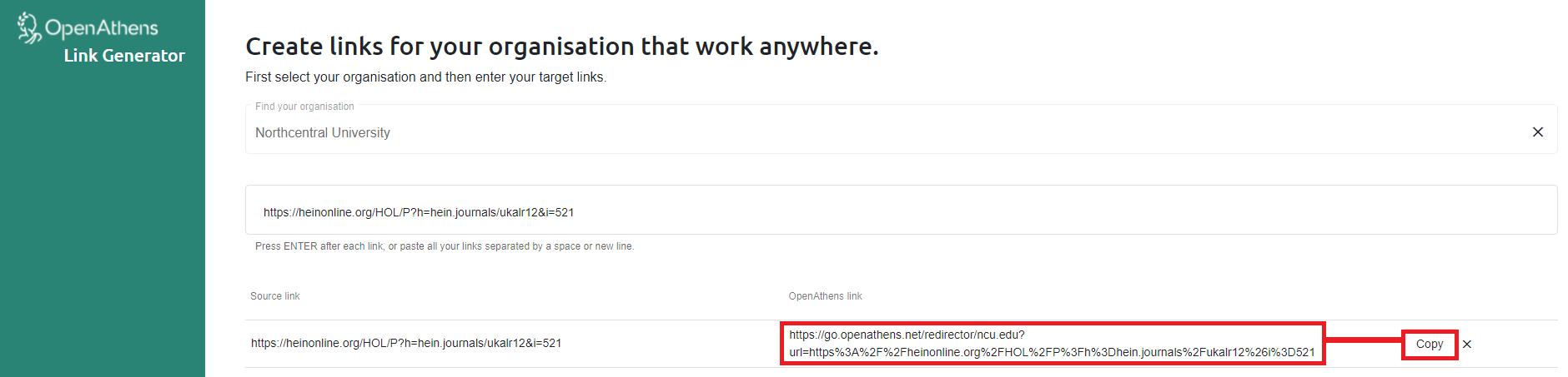 OpenAthens Redirector Link Generator to create a resource permalink for HeinOnline