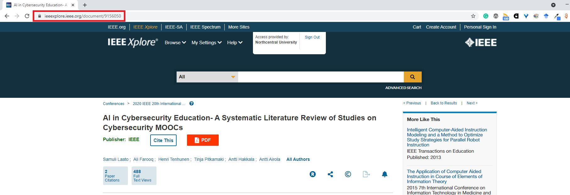 IEEE Xplore Digital Library access URL in browser bar
