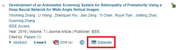 IEEE search result with a dataset