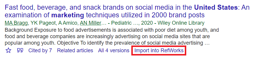 Google Scholar Search Result with Import into RefWorks custom link
