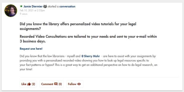JFK School of Law Community Post for Recorded Video Consultations