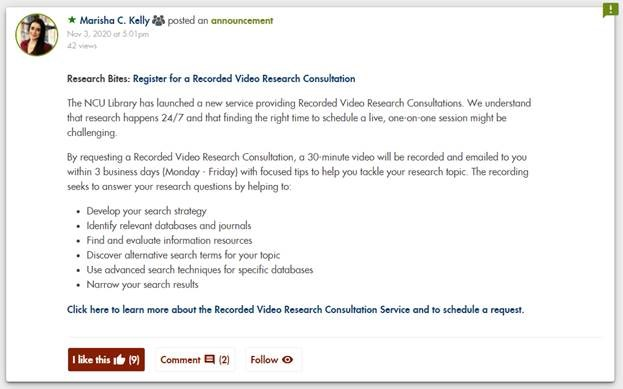 Library Insider Post about Recorded Video Research Consultations