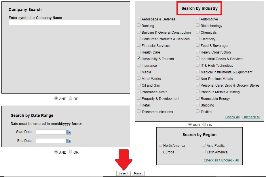 Mergent Online search by Industry page under the Industry Analysis tab