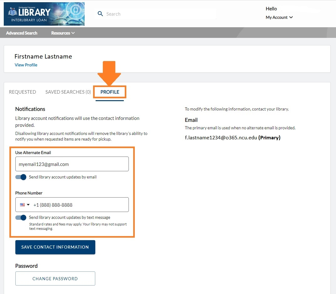 Profile tab in Interlibrary Loan system to set up notifications for alternate email and SMS/text messaging