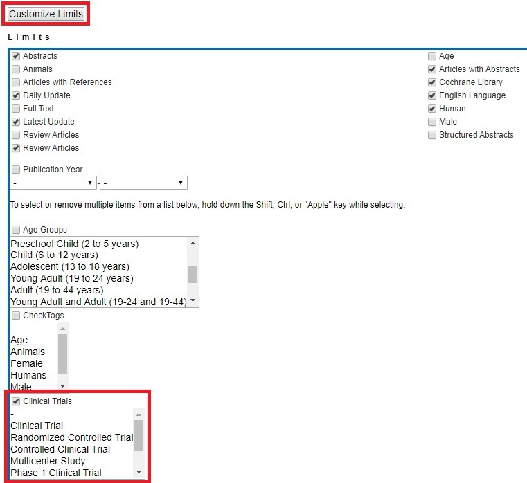 Limits Search page with Clinical Trials limit checked and Customize Links button highlighted to save changes