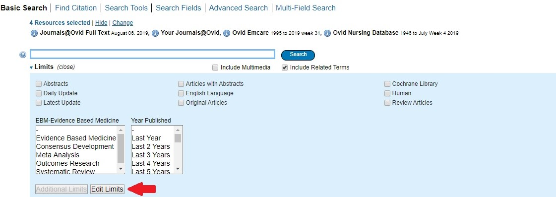 Basic Search page in OVID with arrow pointing to select Edit Limits button