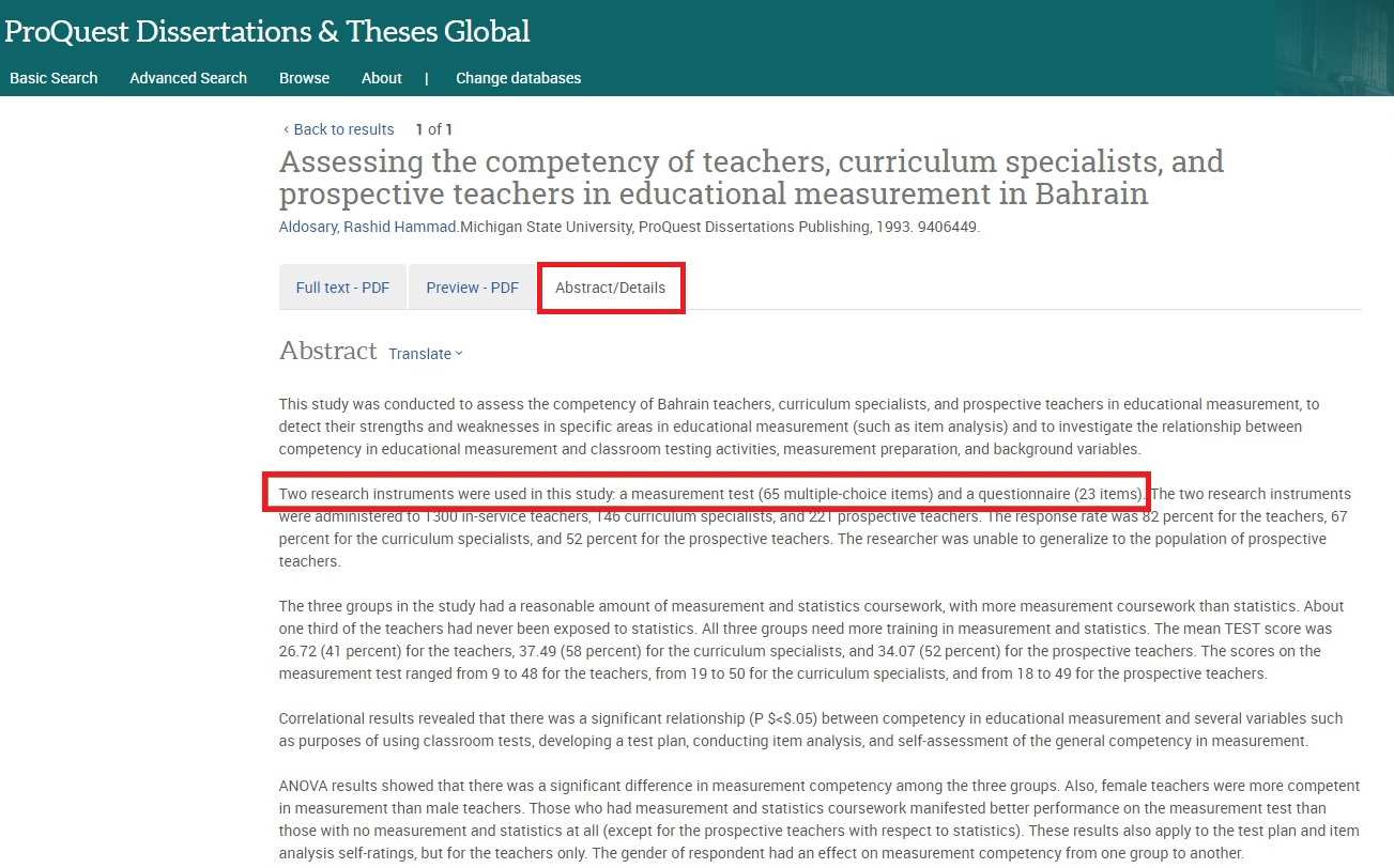 Abstract/Detail of a resource in ProQuest Dissertation and Theses Global with test/measurement used by the author highlighted in the description